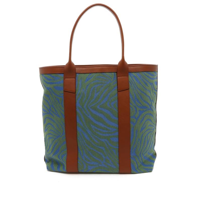 Tall Tote - Blue/Green Animal Print Canvas - Cognac Trim in