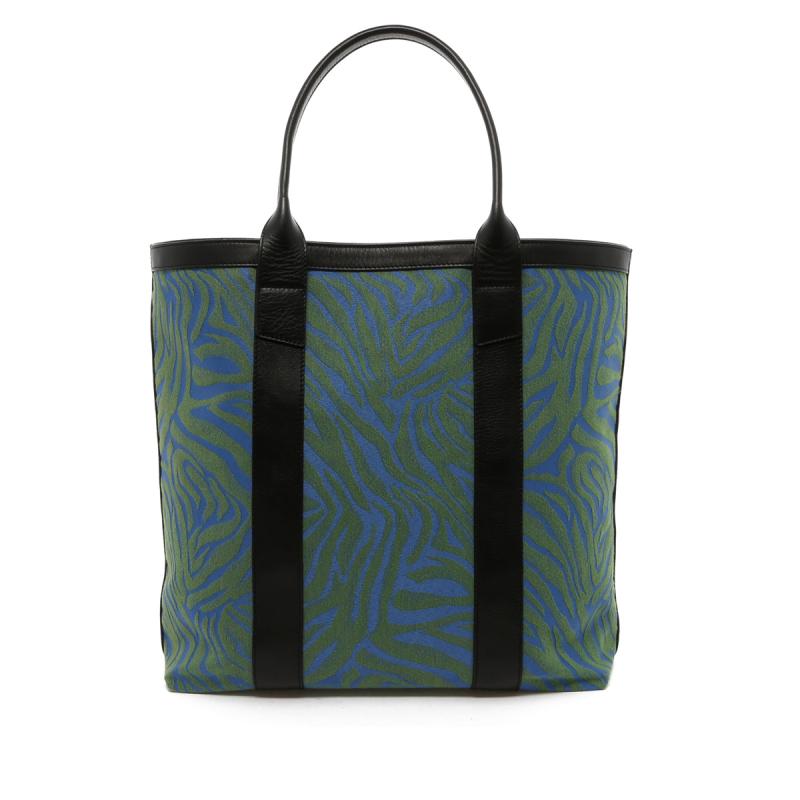 Tall Tote - Blue/Green Animal Print Canvas - Black Trim in