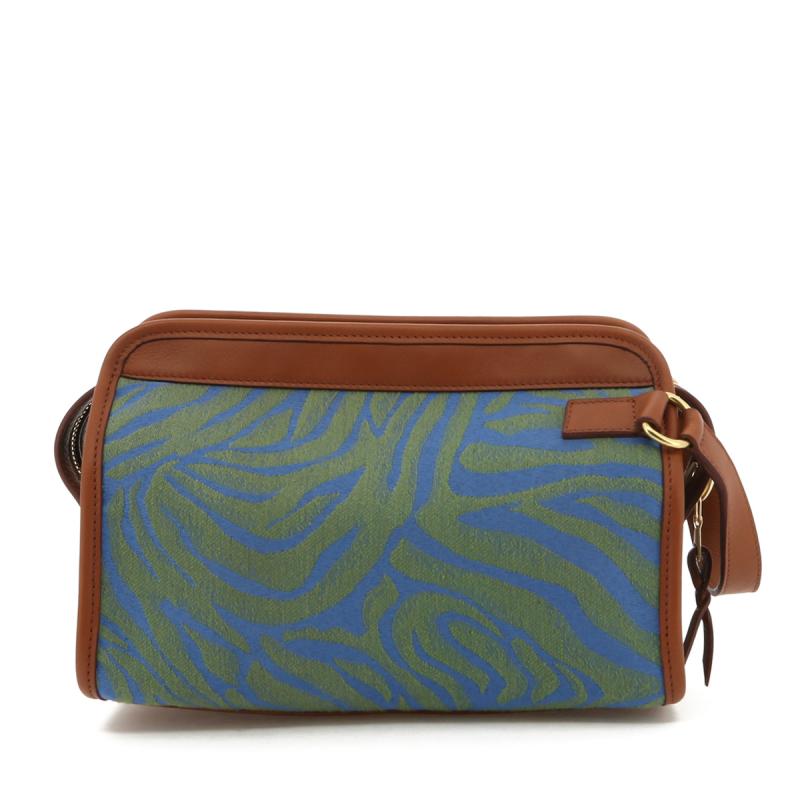 Large Travel Kit - Blue/Green Animal Print/Cognac - Canvas in