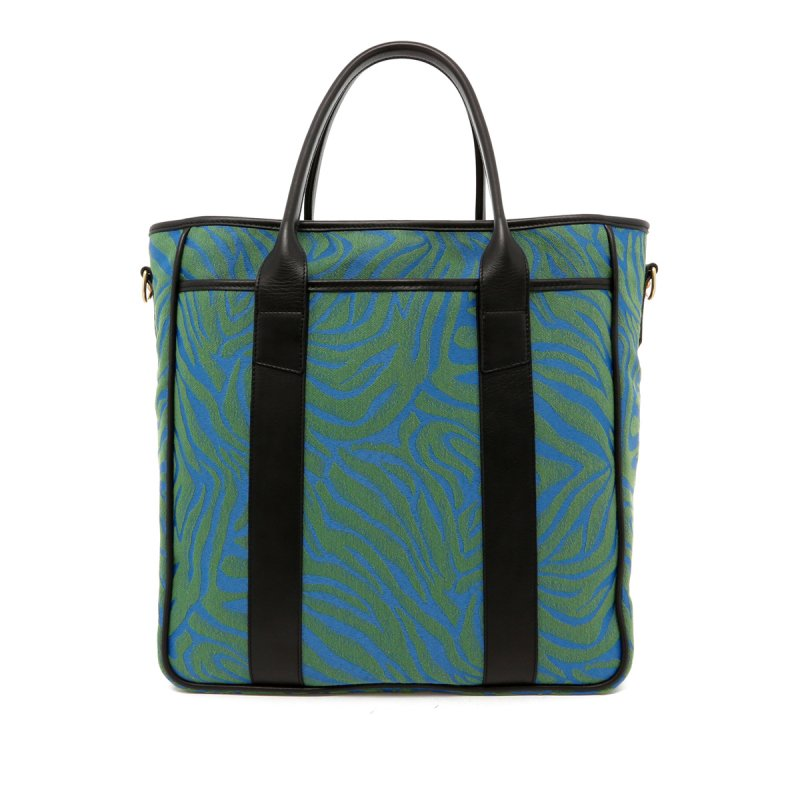 Commuter Tote - Blue / Green Animal Print/Black - Canvas in
