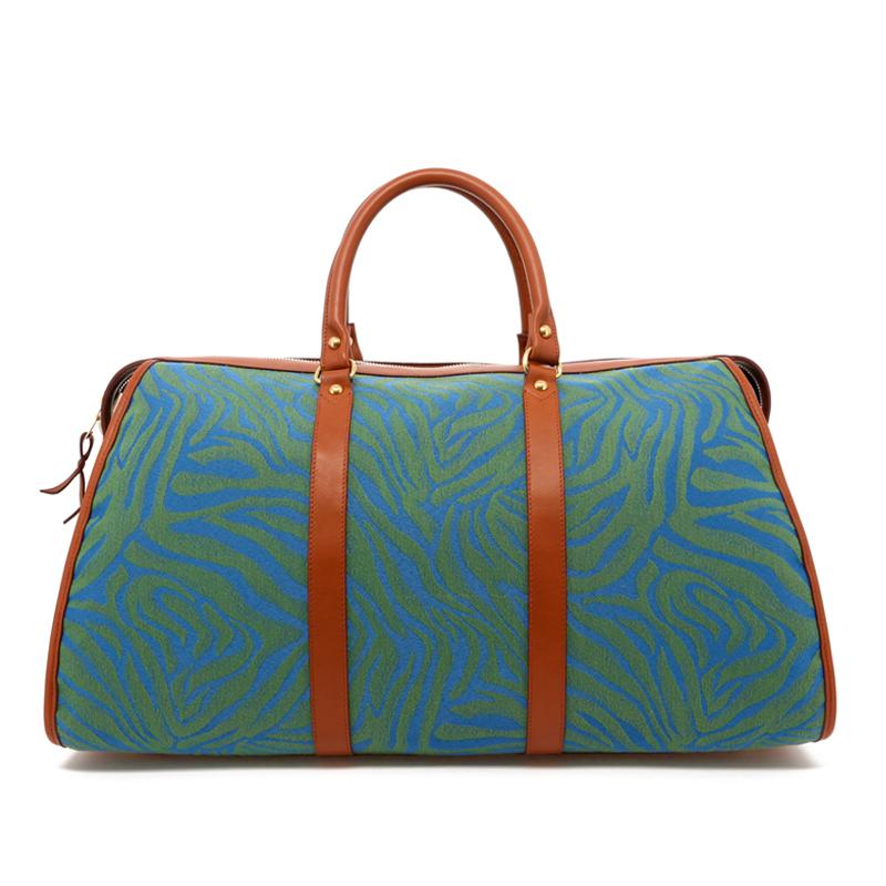 Hampton Duffle - Blue/Green Animal Print - Cognac Trim in
