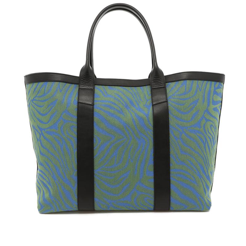 Signature Working Tote - Blue/Green Animal Print - Black Trim in