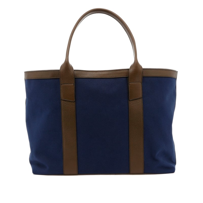 Large Working Tote - Blue/Olive Trim - Olive Interior - Twill in
