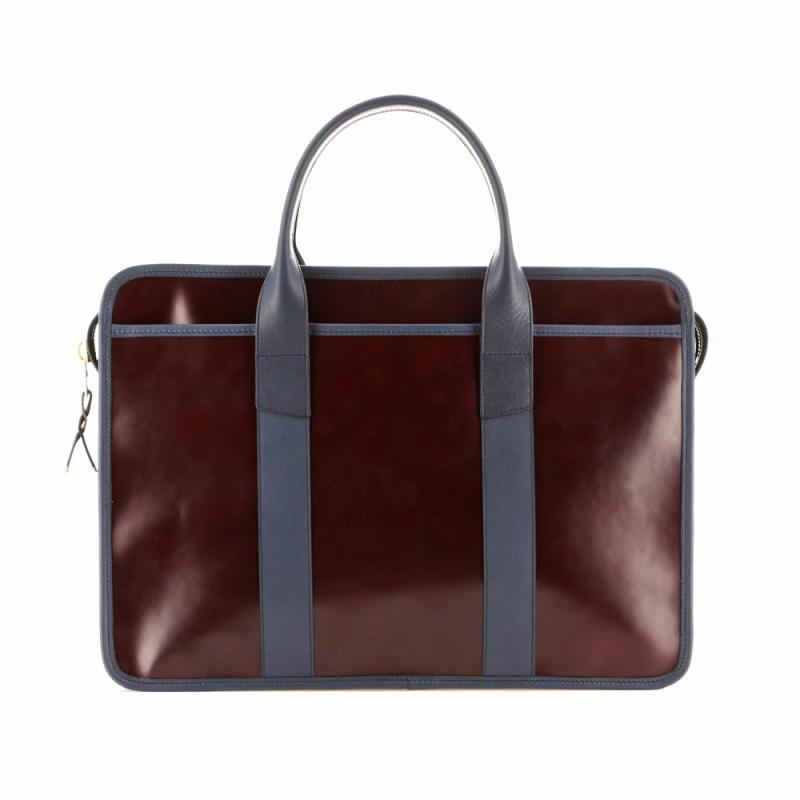Bound Edge Zip-Top - Burgundy/Navy - Glossy Leather