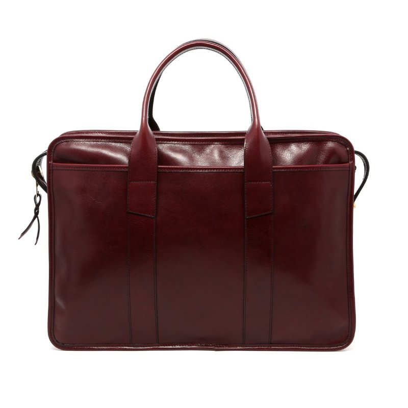 Bound Edge Zip-Top Briefcase - Dark Maroon - Glossy Tumbled Leather  in