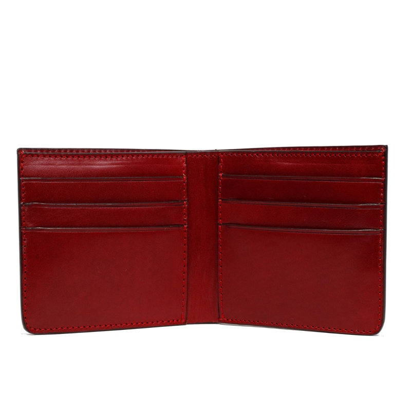 Bifold Wallet - Brick Red Belting Leather in