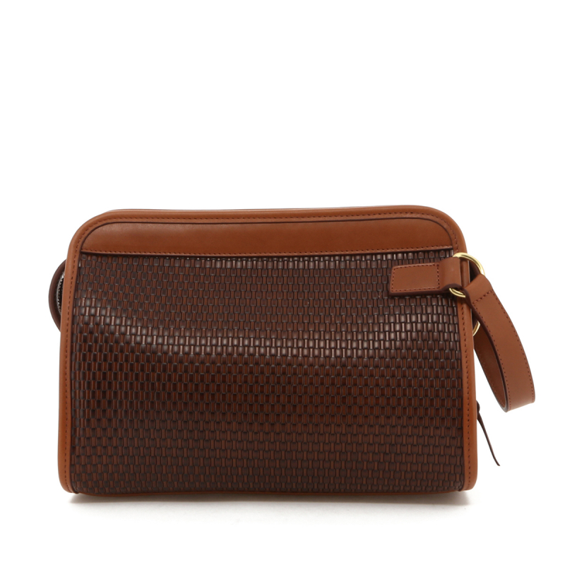 Large Travel Kit - Brown Basket Weave Printed Leather in
