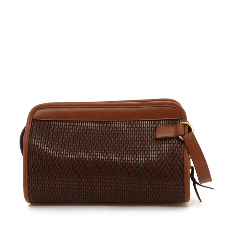 Small Travel Kit - Brown Basket Weave Printed Leather in