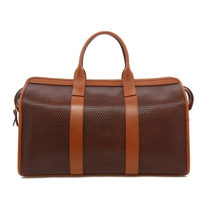 Signature Travel Duffle - Brown Basket Weave Printed Leather in