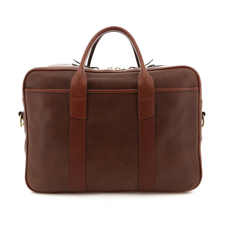 Commuter Briefcase - Brown Pull Up Leather / Chestnut Trim in