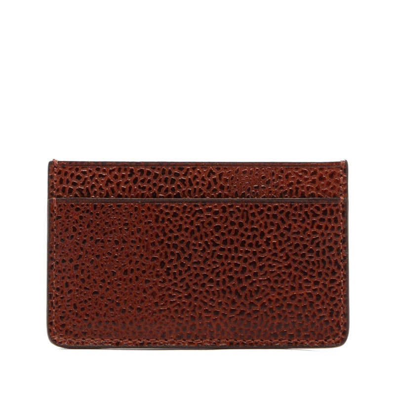 Mini Card Wallet - Dark Chestnut - Scotch Grain Leather  in