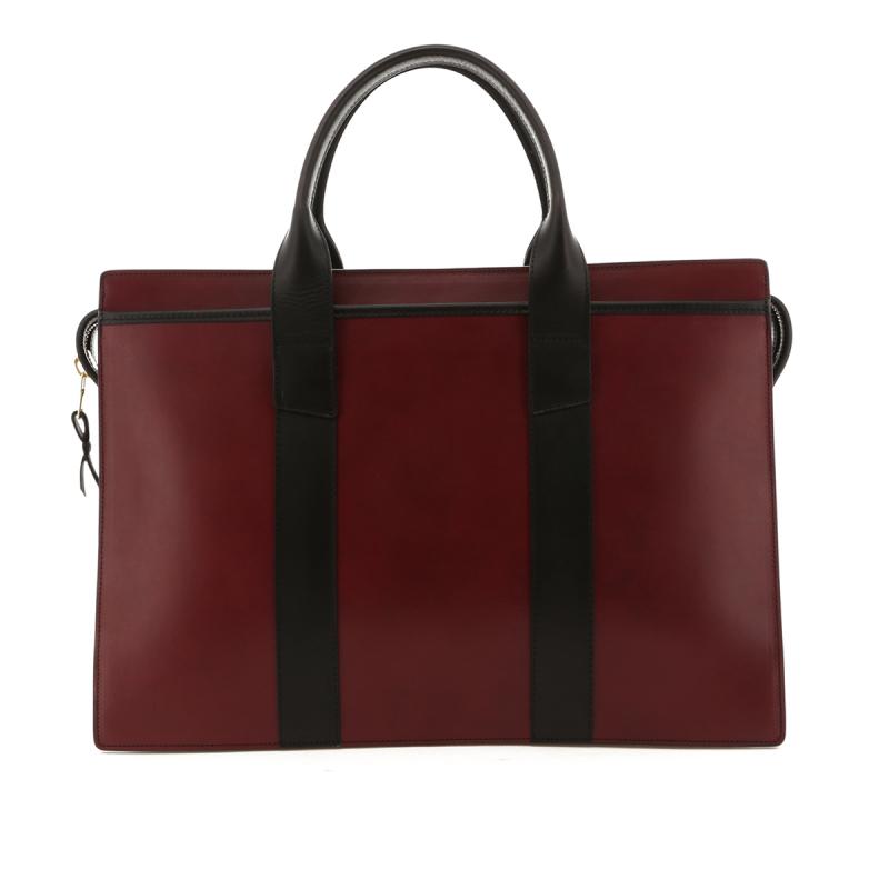 Double Zip-Top Briefcase - Burgundy / Black Trim - Belting in