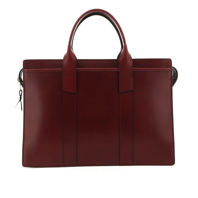 Double Zip-Top Briefcase - Cabernet - Belting Leather in