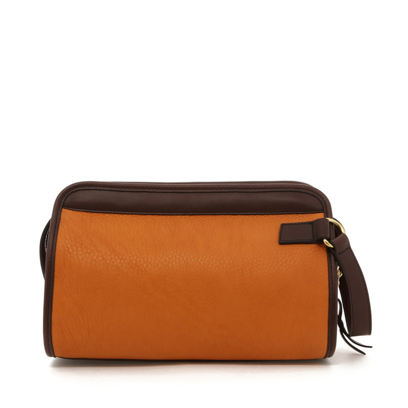 Small Travel Kit - Camel/Chocolate Trim - Soft Pebbled Leather in