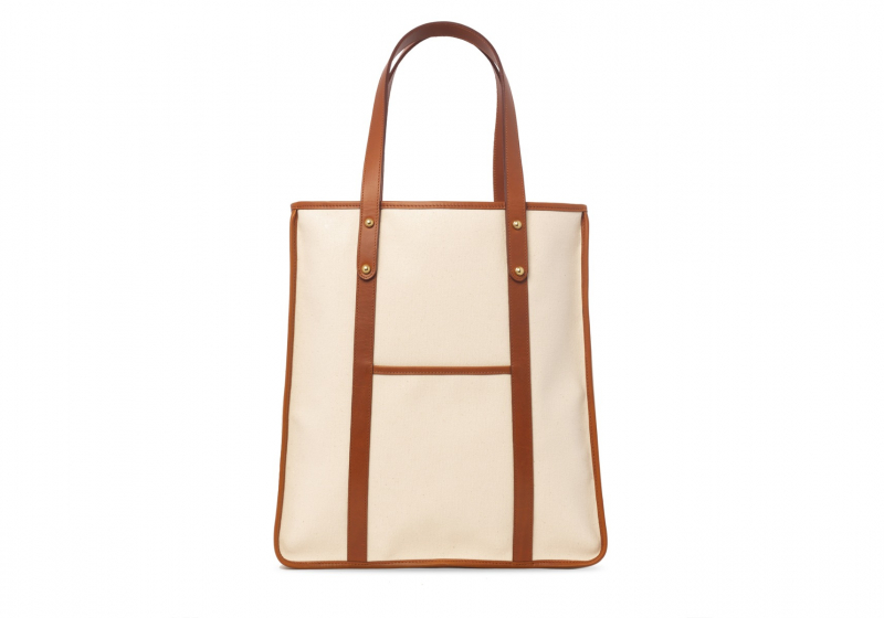 The Market Tote -Natural in Smooth Tumbled Leather