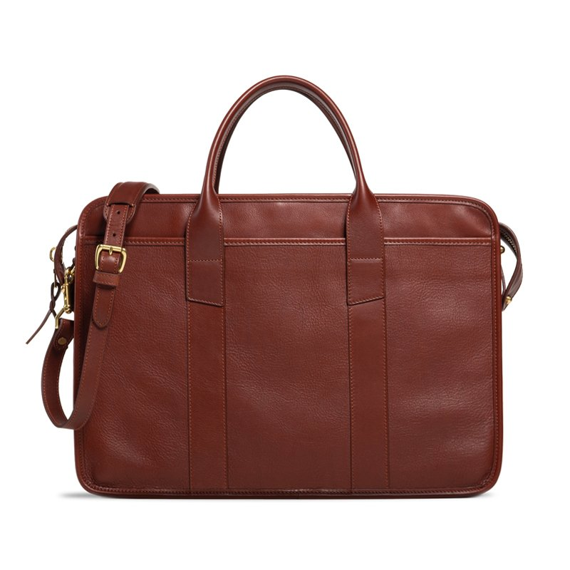 Casual Leather Zip Top Briefcase Brown