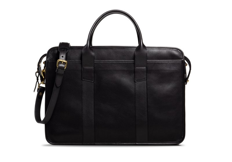 Bound Edge Zip-Top Briefcase -Black in