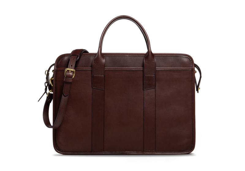 Bound Edge Zip-Top Briefcase -Chocolate in