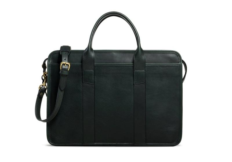 Bound Edge Zip-Top Briefcase -Green in