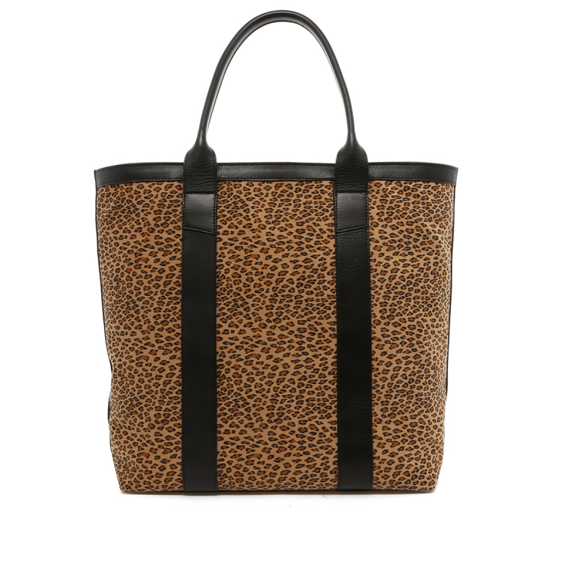 Tall Tote - Cheetah Microfiber / Black Trim - Zipper Top in