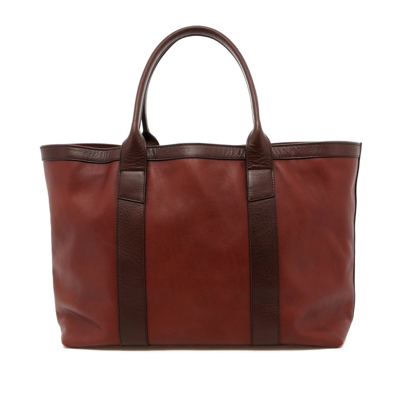 Large Working Tote - Chestnut / Chocolate Trim - Tumbled Leather in