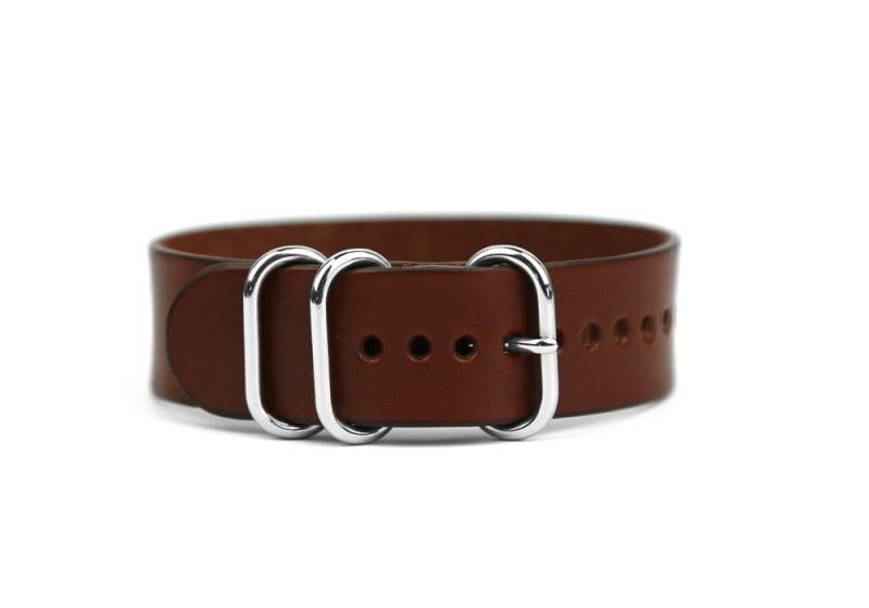 20mm Leather Watch Strap-Chestnut in
