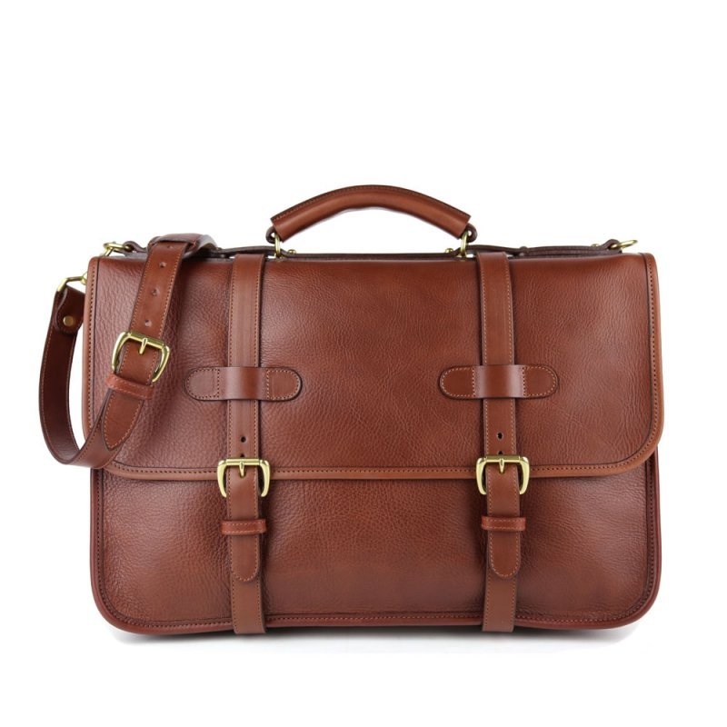 Bound Edge English Briefcase in Smooth Tumbled Leather