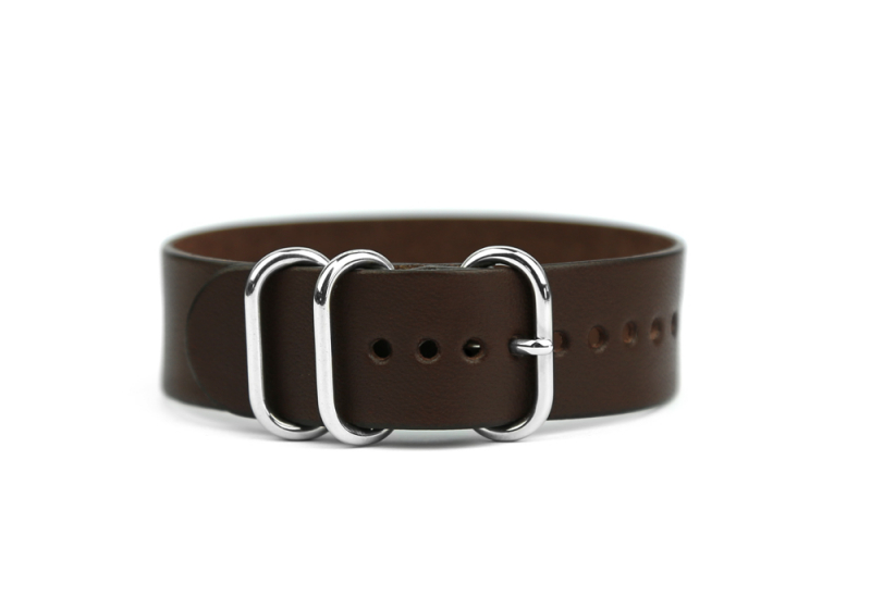 20mm Leather Watch Strap-Chocolate in