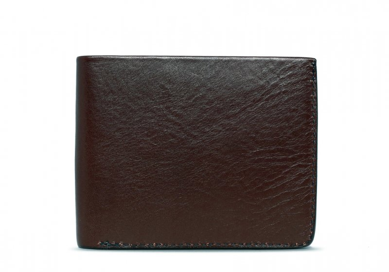 Bifold Wallet Slanted Pockets-Chocolate in Smooth Tumbled Leather
