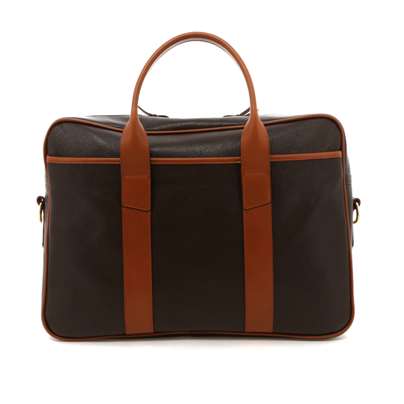Commuter Briefcase - Chocolate / Cognac Pebbled Leather in