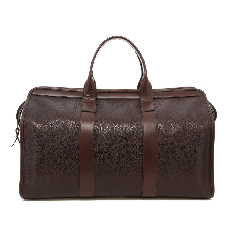 Signature Travel Duffle - Chocolate Pebbled Printed Leather - Brown Interior in