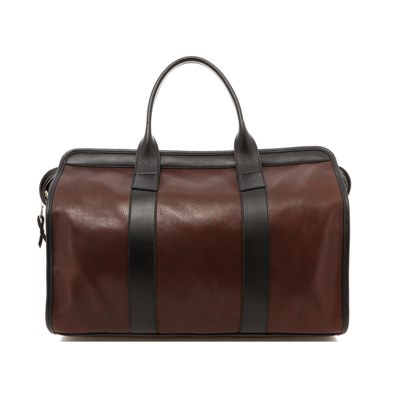 Small Travel Duffle - Chocolate/Black Trim - Soft Tumbled Leather in
