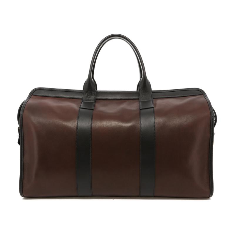 Signature Travel Duffle - Chocolate/Black Trim - Soft Tumbled Leather in