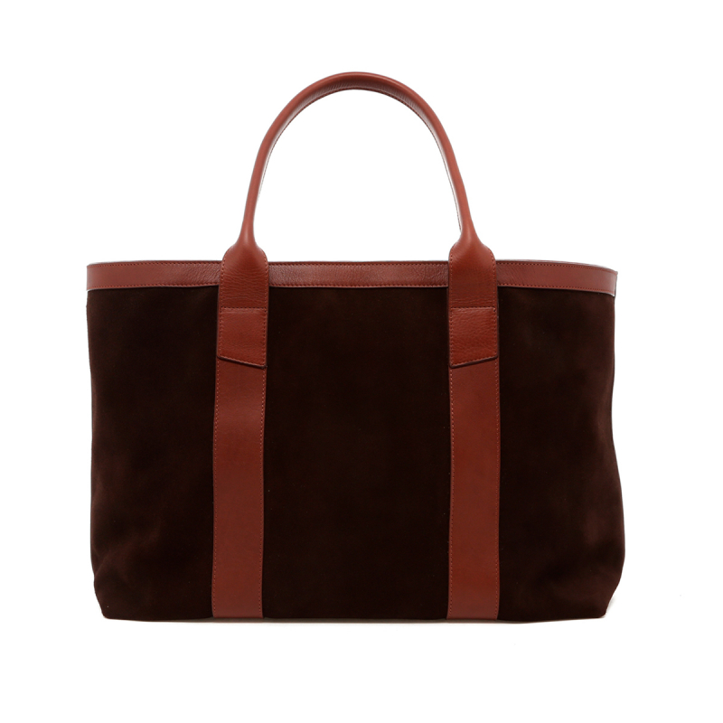 Large Working Tote - Chocolate/Chestnut Trim - Suede in