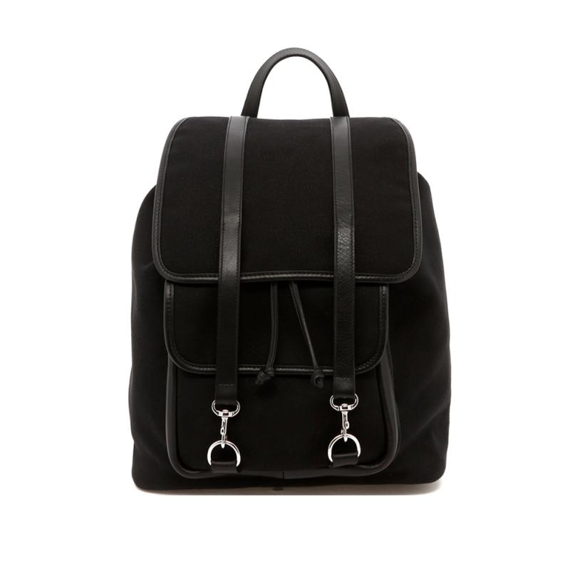 Classic Backpack - Black - Charcoal Herringbone Interior - Canvas in