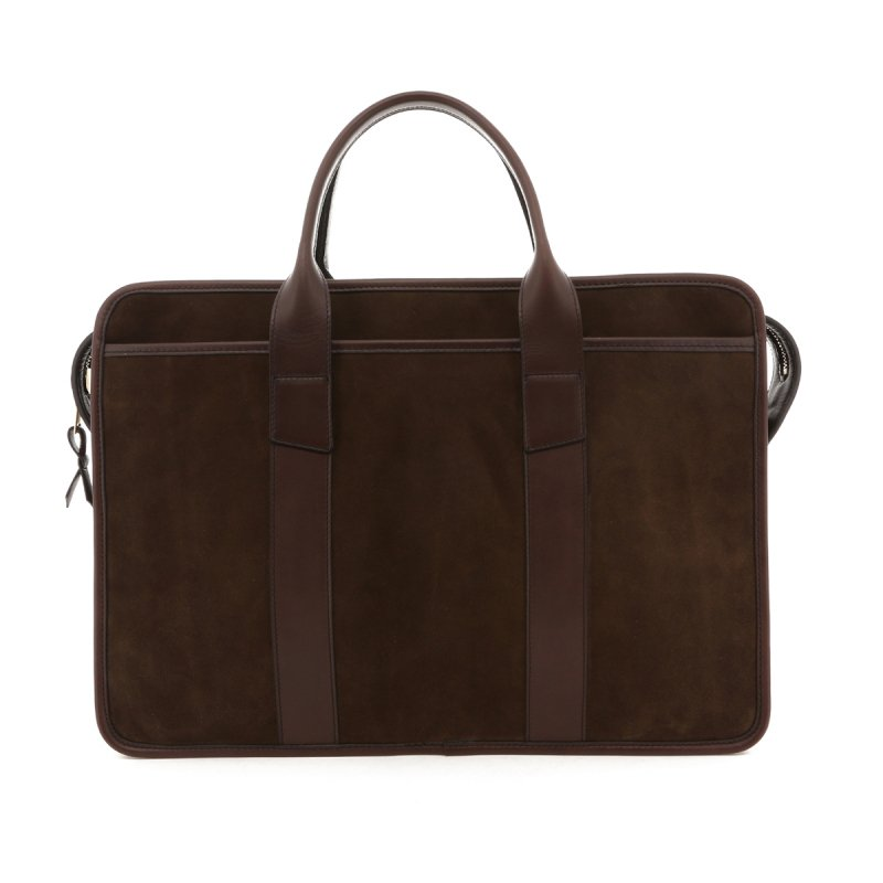 Bound Edge Zip-Top Briefcase - Coffee/Chocolate - Suede in