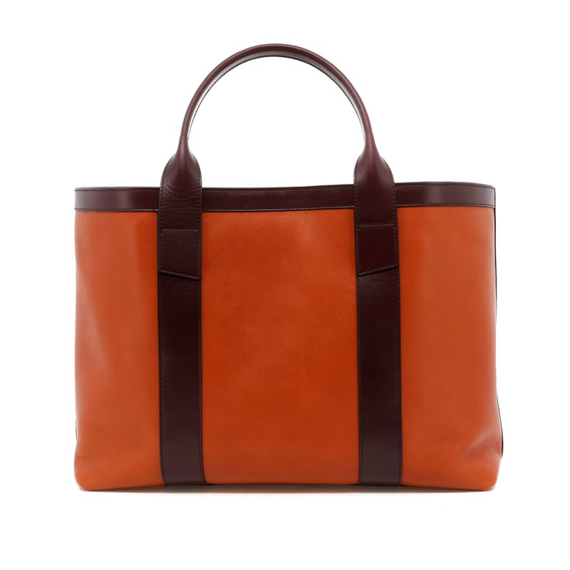 Large Working Tote - Cognac / Eggplant Trim - Tumbled Leather in