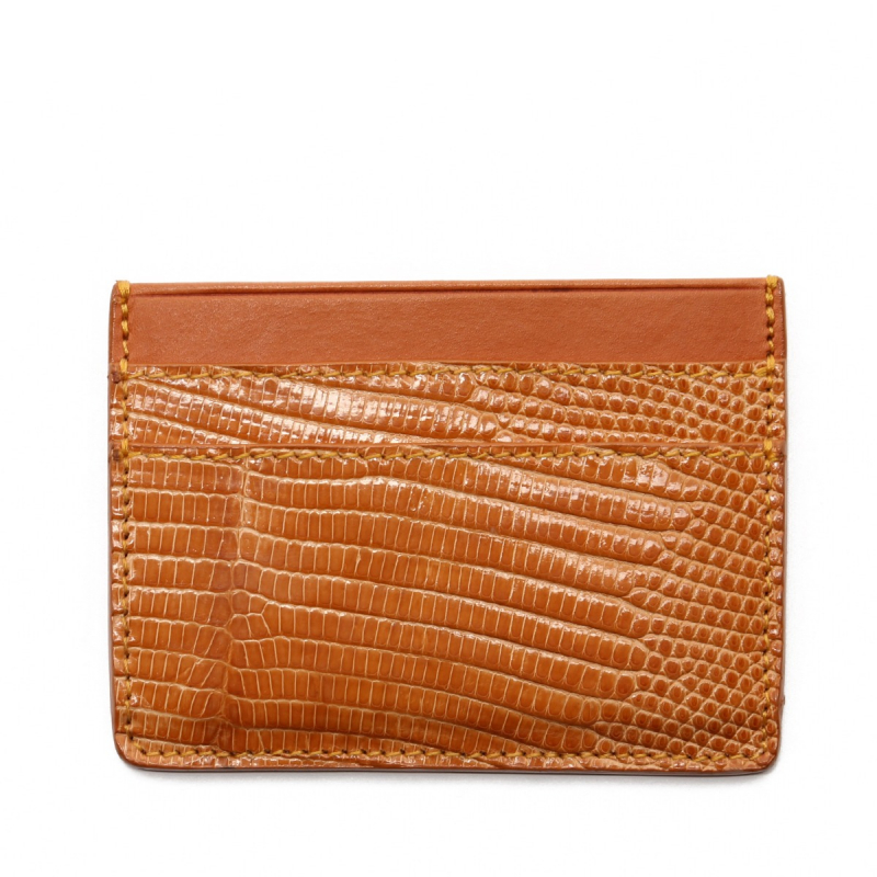 Double Card Wallet - Tan Lizard in