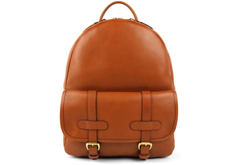 Zipper Backpack-Cognac in