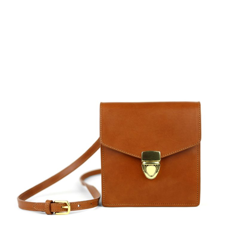 Adelie Shoulder Bag - Lock Closure  in Harness Belting Leather