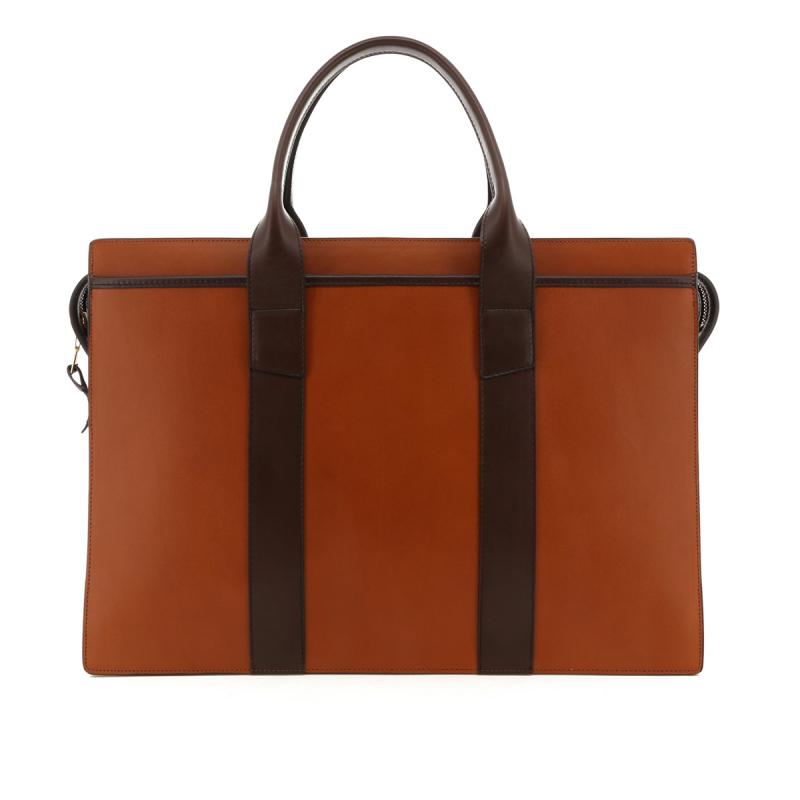 Double Zip-Top Briefcase - Cognac/Chocolate Trim - Belting in