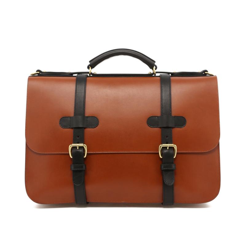 English Briefcase - Cognac/Black Trim - Belting Leather in