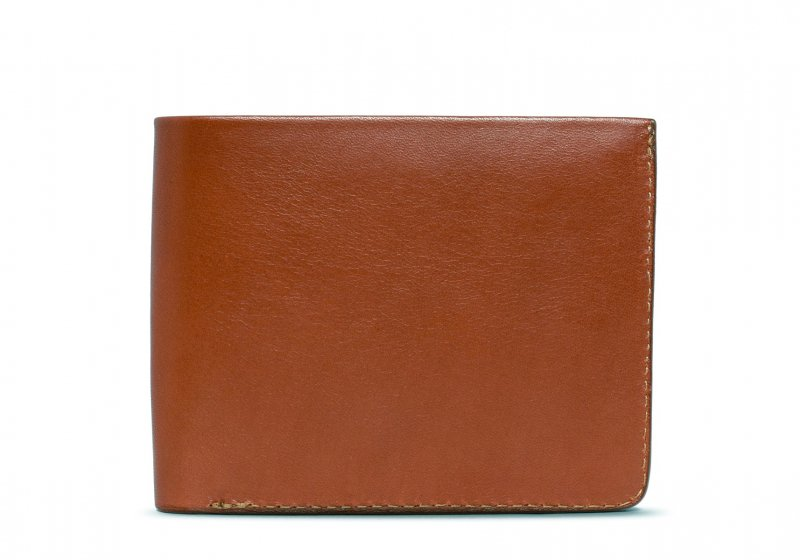 Bifold Wallet Slanted Pockets-Cognac in Smooth Tumbled Leather