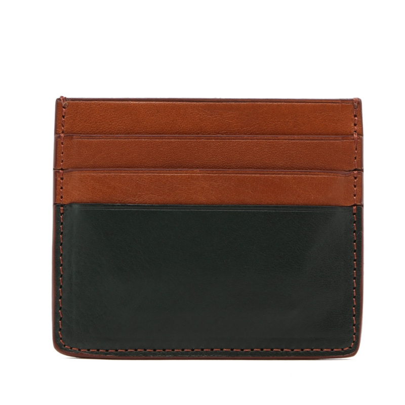 Triple Card Wallet - Green / Cognac - Tumbled Leather  in