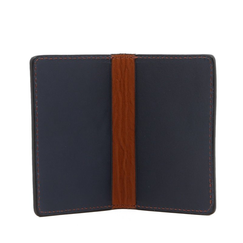 Folding Card Case - Cognac / Navy - Tumbled Leather  in
