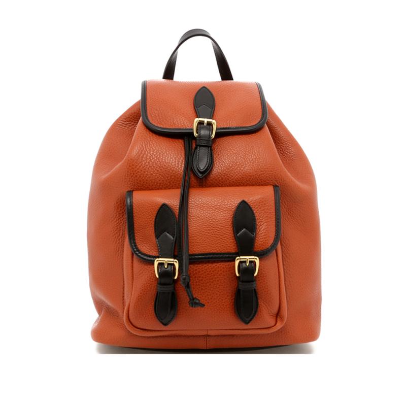 Classic Backpack - Cognac/Black - Pebbled in