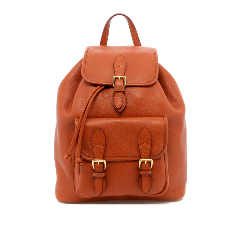 Classic Backpack - Cognac - Pebbled Leather - Unlined in
