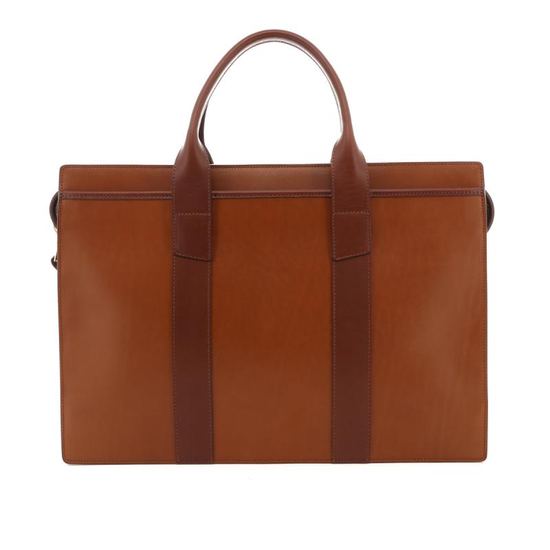 Single Zip-Top - Cognac / Chestnut - Belting Leather in