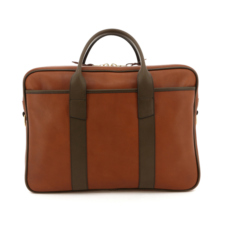 Commuter Briefcase - Cognac/Olive Trim - Tumbled in