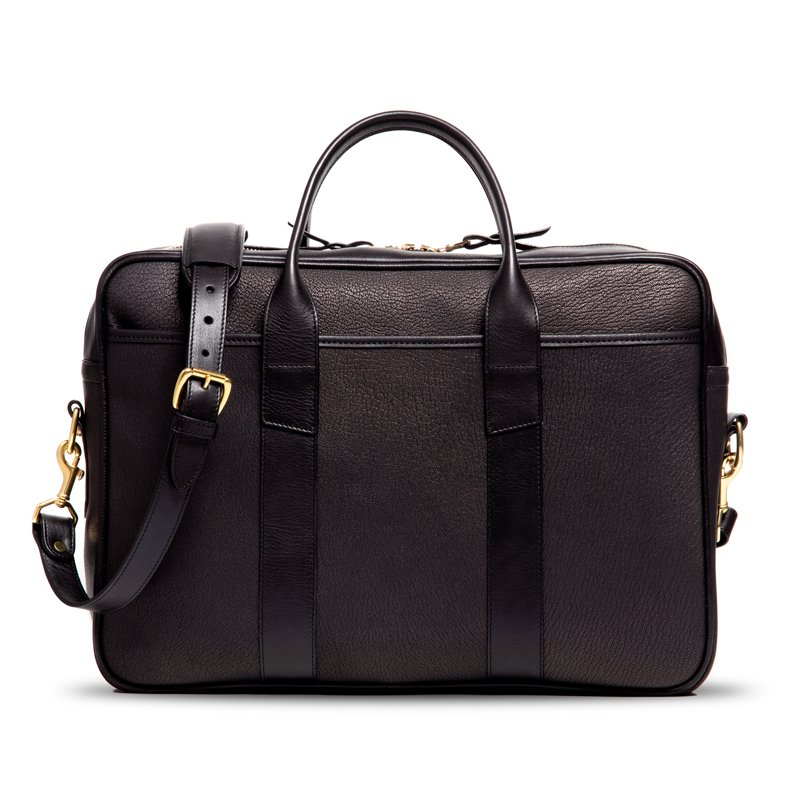 Chèvre Commuter Briefcase-Black in Goat Skin